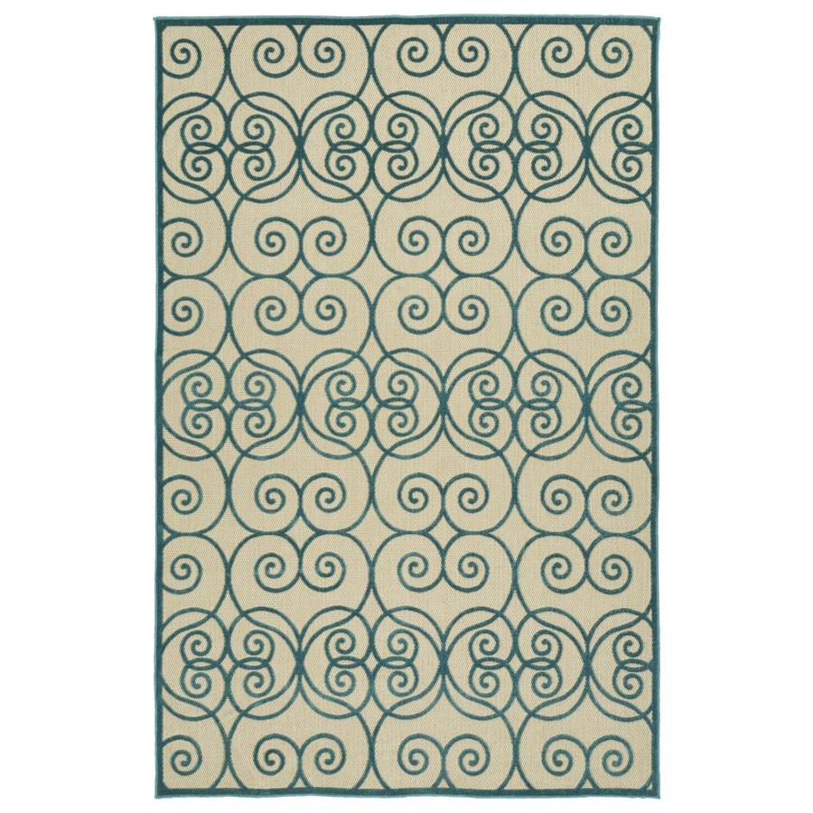 Kaleen A Breath of Fresh Air Blue Rectangular Indoor/Outdoor Machine-Made Novelty Area Rug (Common: 8 x 11; Actual: 7.83-ft W x 10.66-ft L)
