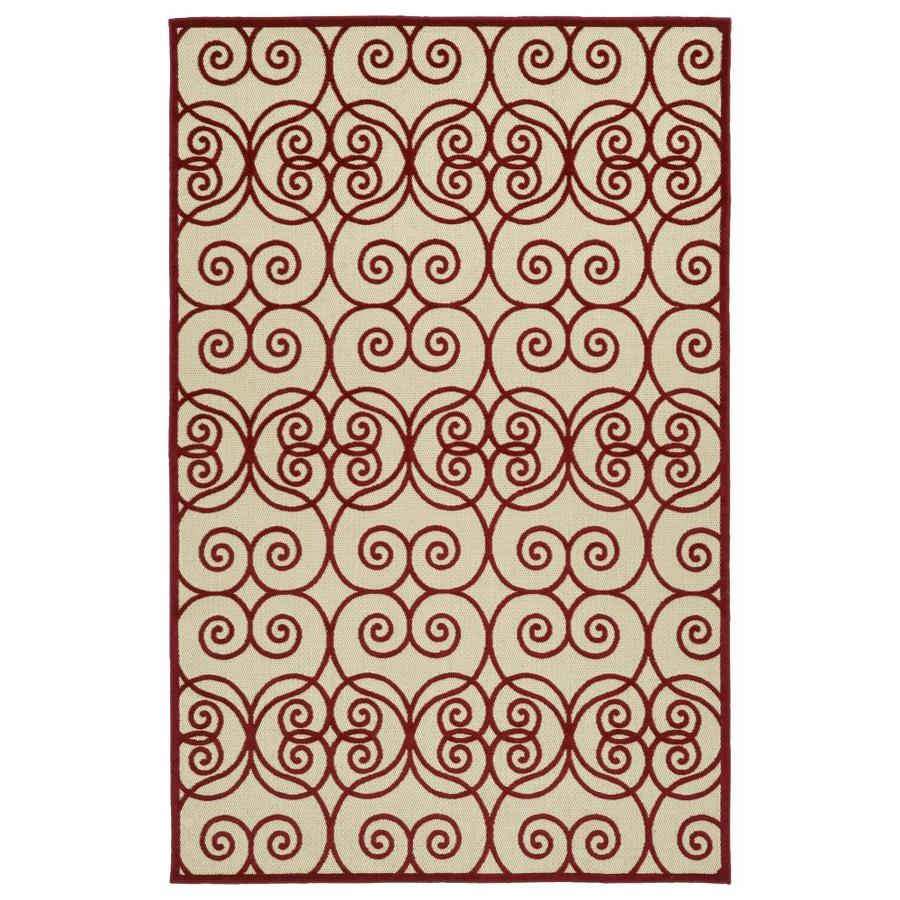 Kaleen A Breath of Fresh Air Red Rectangular Indoor/Outdoor Machine-Made Novelty Area Rug (Common: 4 x 6; Actual: 3.83-ft W x 5.66-ft L)