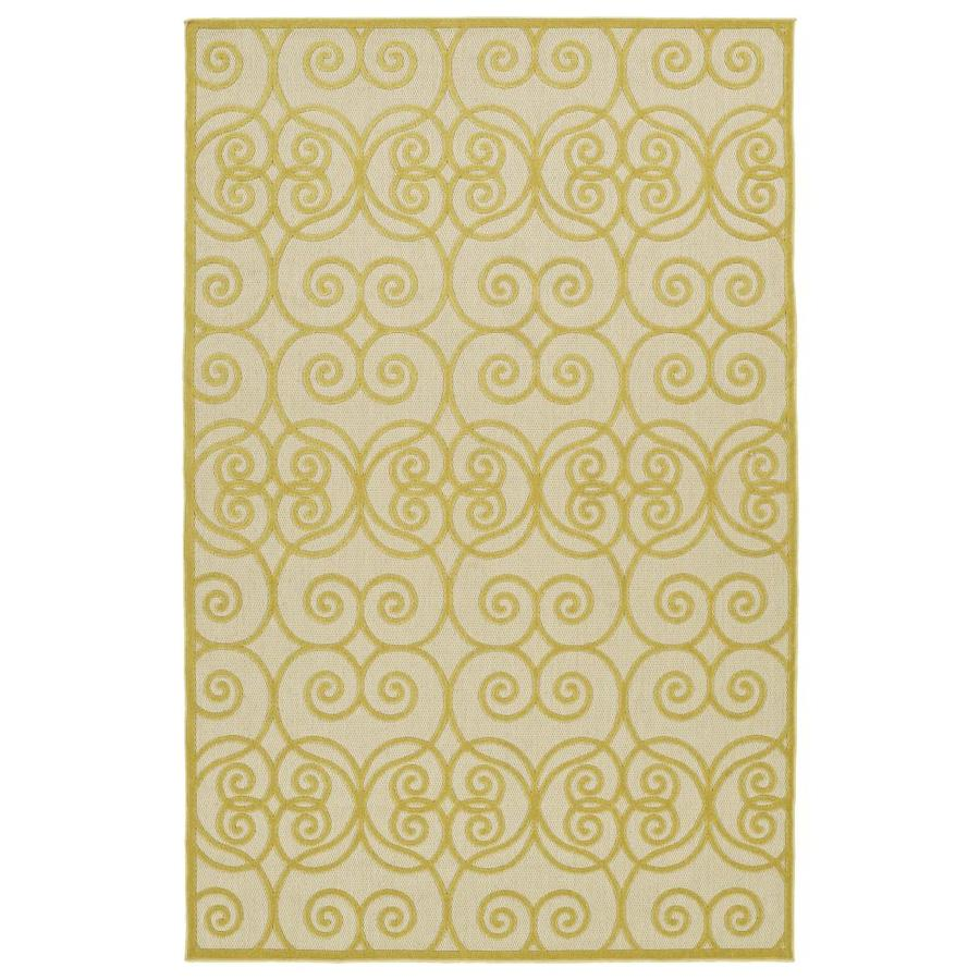 Kaleen A Breath of Fresh Air Gold Rectangular Indoor/Outdoor Machine-Made Novelty Area Rug (Common: 8 x 11; Actual: 7.83-ft W x 10.66-ft L)