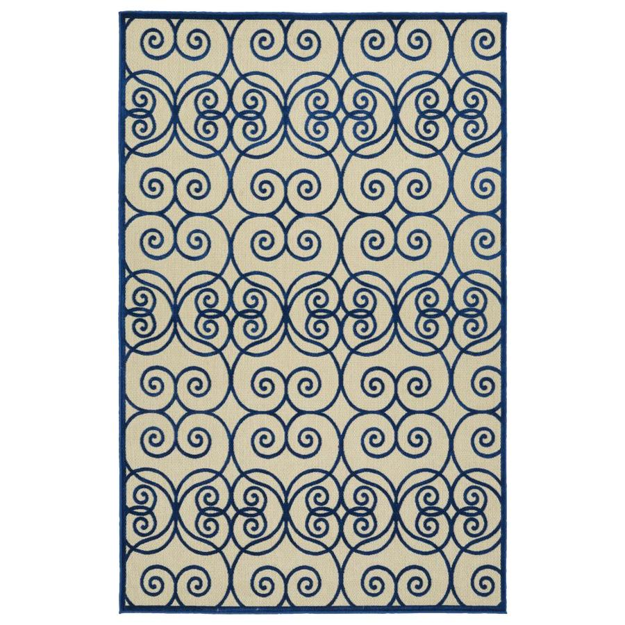 Kaleen A Breath of Fresh Air Navy Rectangular Indoor/Outdoor Machine-Made Novelty Area Rug (Common: 8 x 11; Actual: 7.83-ft W x 10.66-ft L)