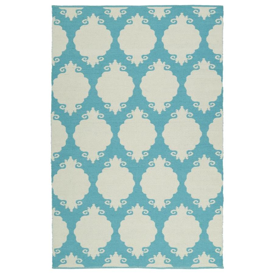 Kaleen Brisa Turquoise Rectangular Indoor/Outdoor Handcrafted Coastal Area Rug (Common: 5 x 8; Actual: 5-ft W x 7.5-ft L)