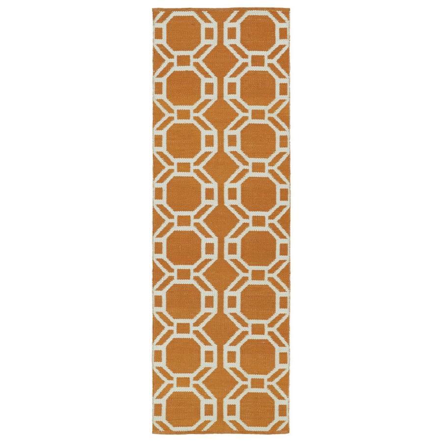 Kaleen Brisa Orange Rectangular Indoor/Outdoor Handcrafted Coastal Runner (Common: 2 x 6; Actual: 2-ft W x 6-ft L)