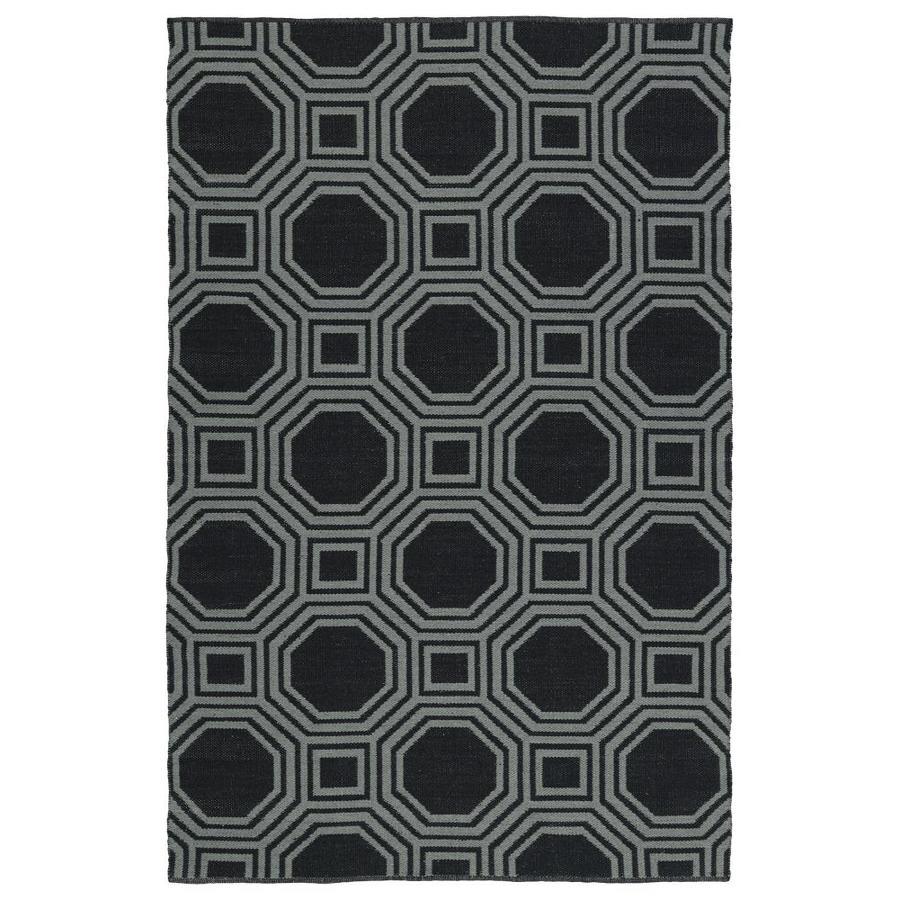 Kaleen Brisa Black Rectangular Indoor/Outdoor Handcrafted Coastal Area Rug (Common: 8 x 10; Actual: 8-ft W x 10-ft L)