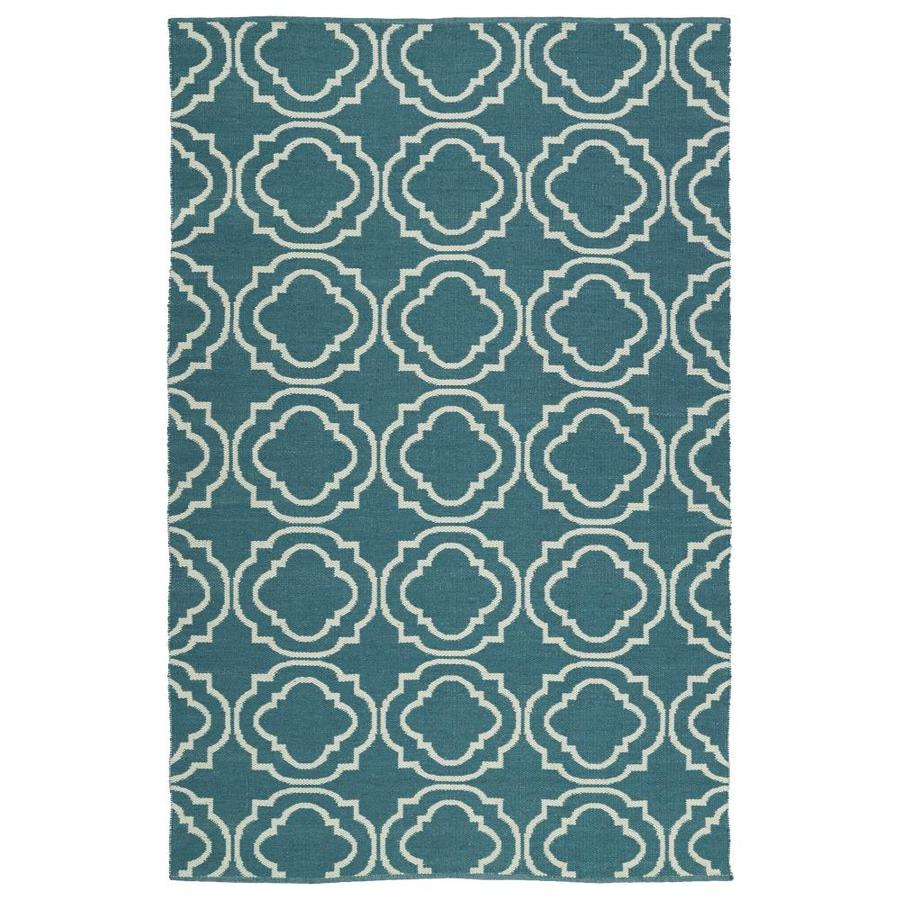 Kaleen Brisa Teal Rectangular Indoor/Outdoor Handcrafted Coastal Throw Rug (Common: 2 x 3; Actual: 2-ft W x 3-ft L)