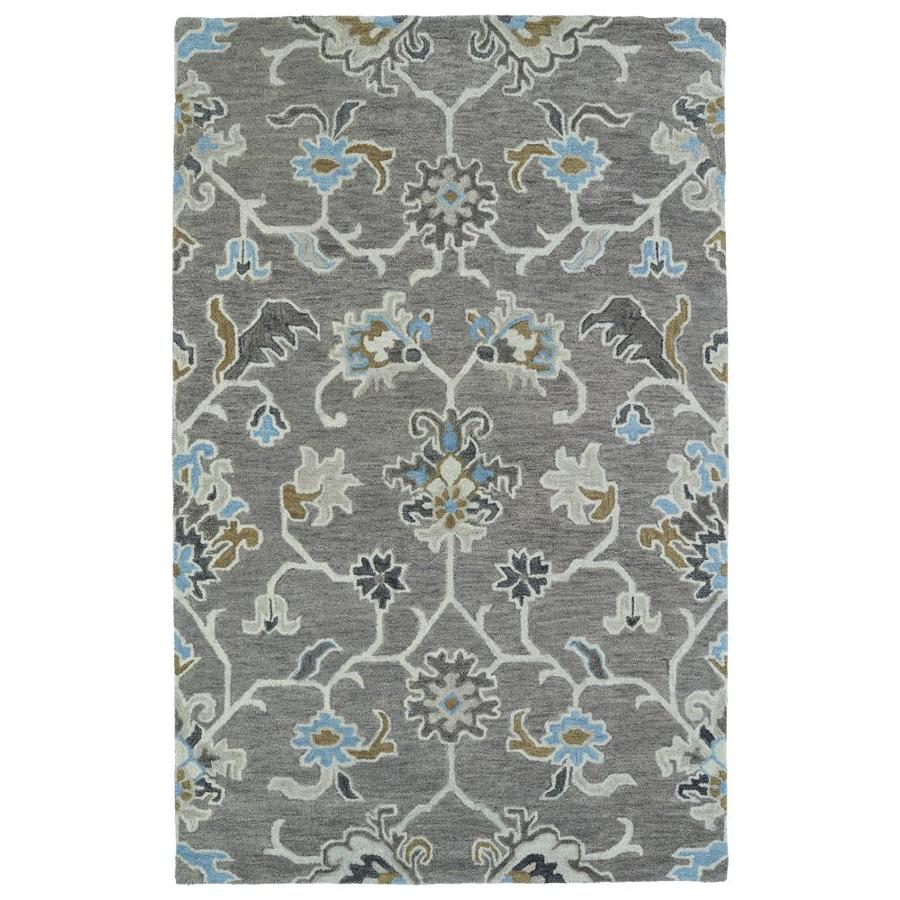 Kaleen Helena Grey Rectangular Indoor Handcrafted Oriental Area Rug (Common: 10 x 14; Actual: 10-ft W x 14-ft L)