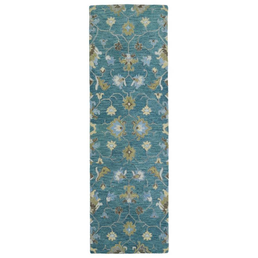 Kaleen Helena Turquoise Rectangular Indoor Handcrafted Oriental Runner (Common: 2 x 8; Actual: 2.5-ft W x 8-ft L)