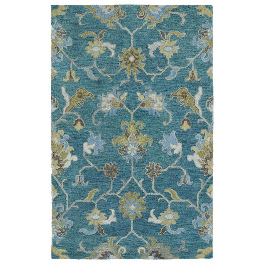 Kaleen Helena Turquoise Rectangular Indoor Handcrafted Oriental Area Rug (Common: 10 x 14; Actual: 10-ft W x 14-ft L)