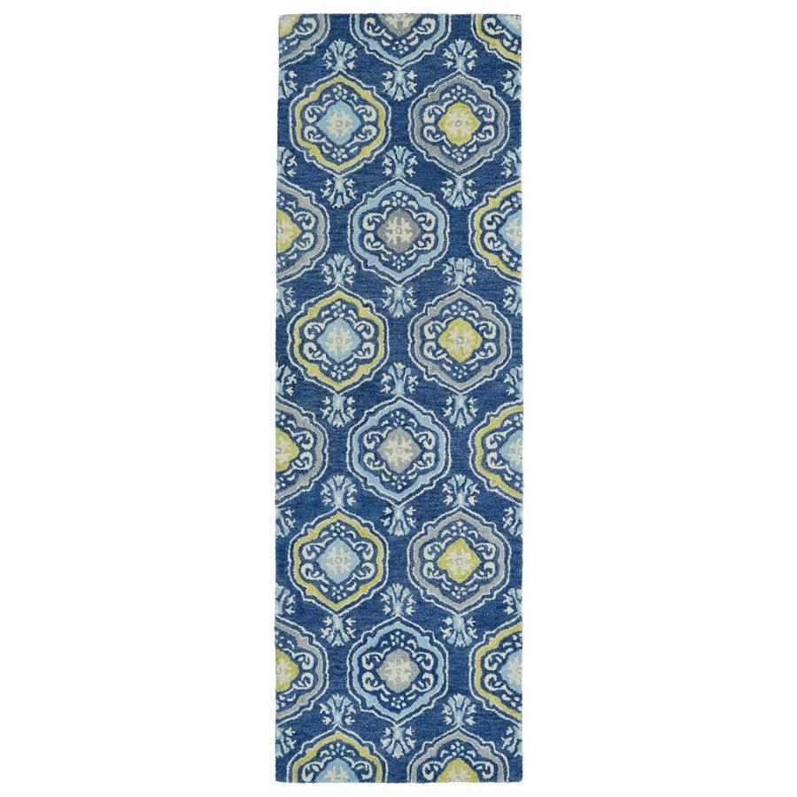 Kaleen Helena Blue Rectangular Indoor Handcrafted Oriental Runner (Common: 2 x 8; Actual: 2.5-ft W x 8-ft L)