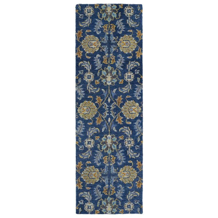 Kaleen Helena Blue Rectangular Indoor Handcrafted Oriental Runner (Common: 2 x 8; Actual: 2.5-ft W x 8-ft L)