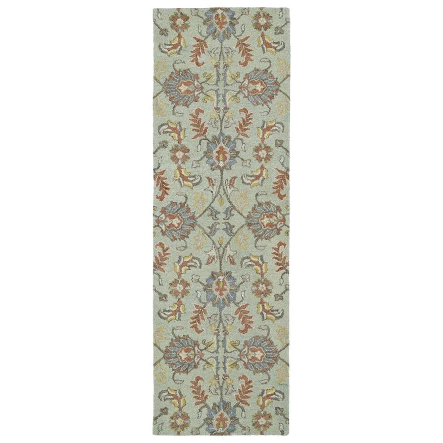 Kaleen Helena Mint Rectangular Indoor Handcrafted Oriental Runner (Common: 2 x 8; Actual: 2.5-ft W x 8-ft L)
