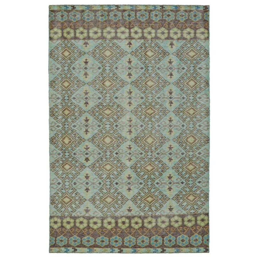 Kaleen Relic Turquoise Indoor Handcrafted Southwestern Area Rug (Common: 6 x 9; Actual: 5.5-ft W x 8.5-ft L)