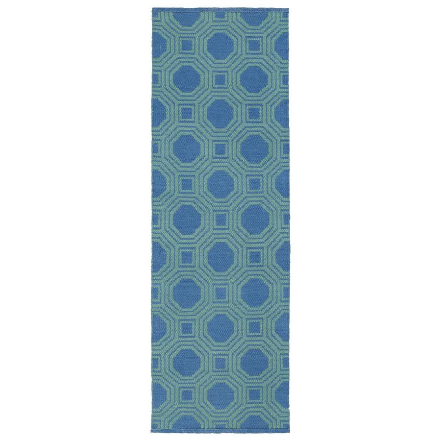 Kaleen Brisa Blue Indoor/Outdoor Handcrafted Coastal Runner (Common: 2 x 6; Actual: 2-ft W x 6-ft L)