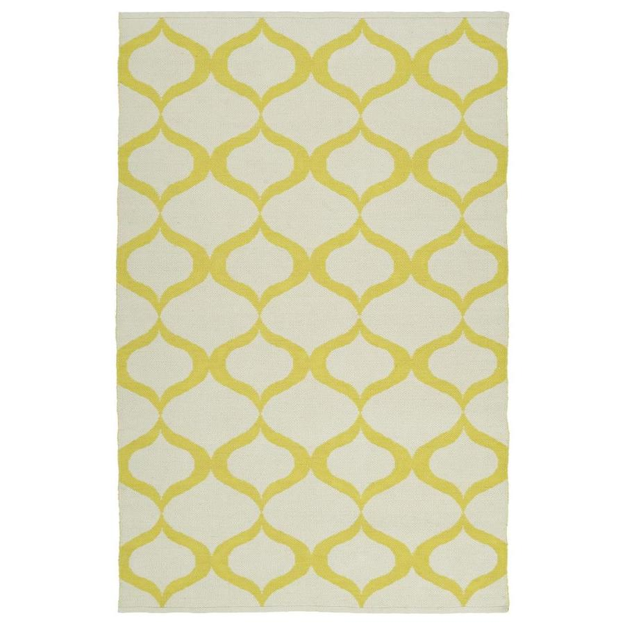 Kaleen Brisa Yellow Rectangular Indoor/Outdoor Handcrafted Coastal Throw Rug (Common: 3 x 5; Actual: 3-ft W x 5-ft L)