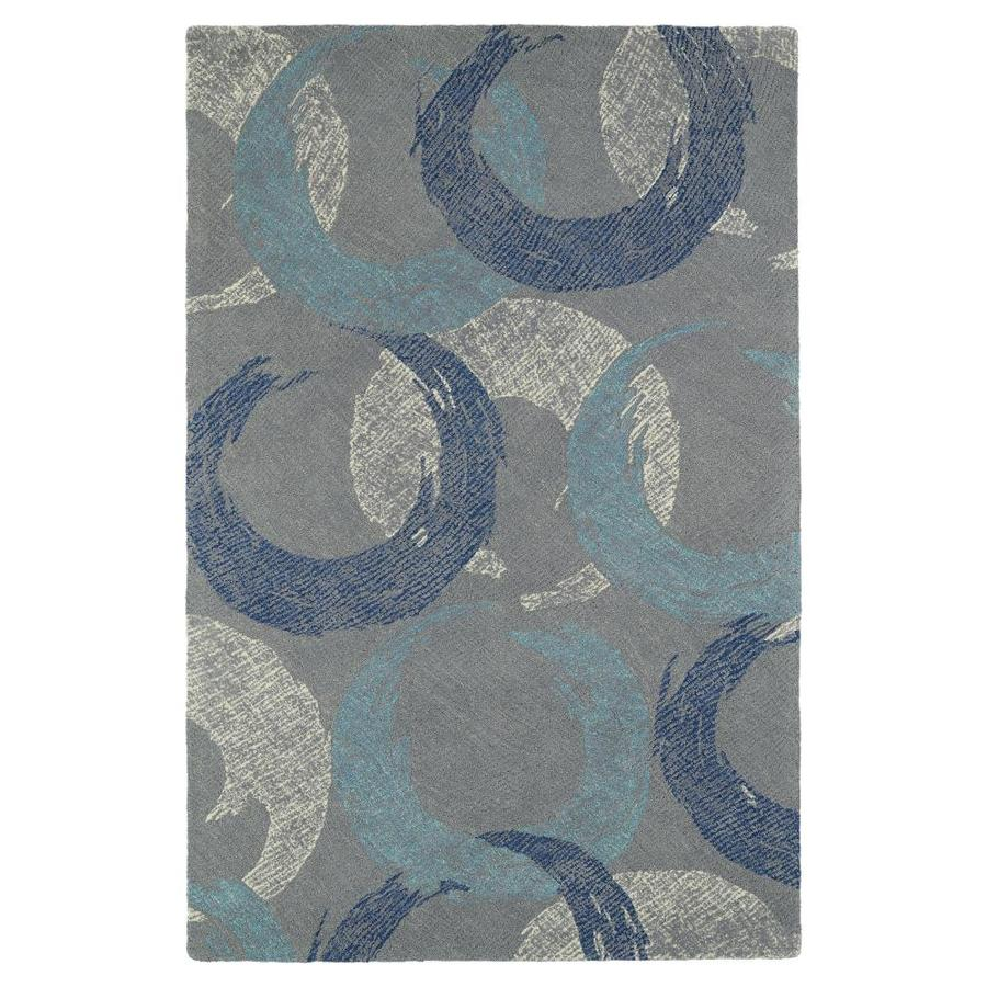 Kaleen Montage Grey Rectangular Indoor Handcrafted Distressed Area Rug (Common: 5 x 8; Actual: 5-ft W x 7.75-ft L)