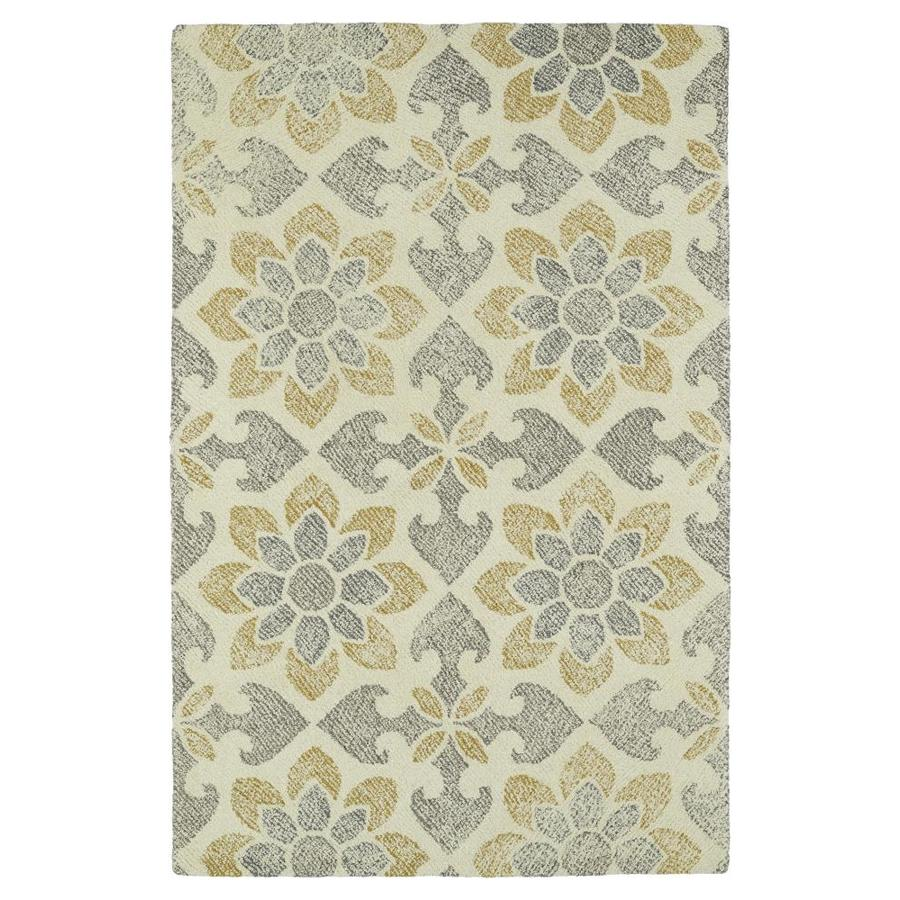 Kaleen Montage Ivory Rectangular Indoor Handcrafted Distressed Area Rug (Common: 5 x 8; Actual: 5-ft W x 7.75-ft L)