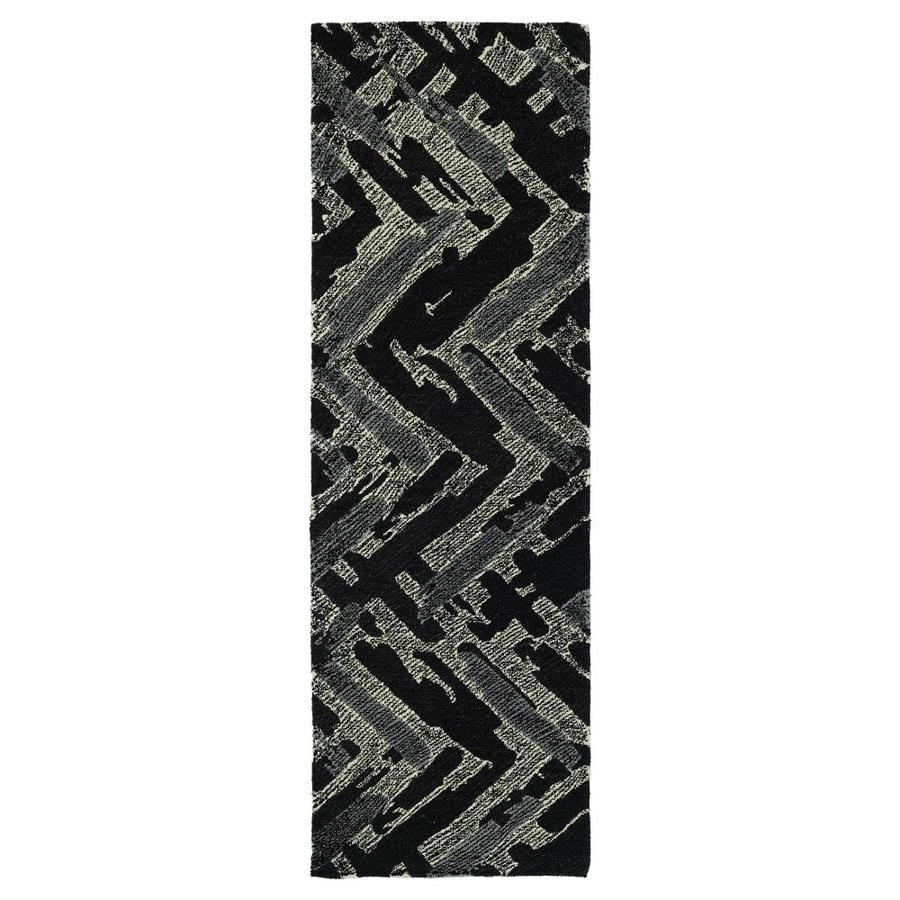 Kaleen Montage Black Rectangular Indoor Handcrafted Distressed Runner (Common: 3 x 8; Actual: 2.5-ft W x 8-ft L)