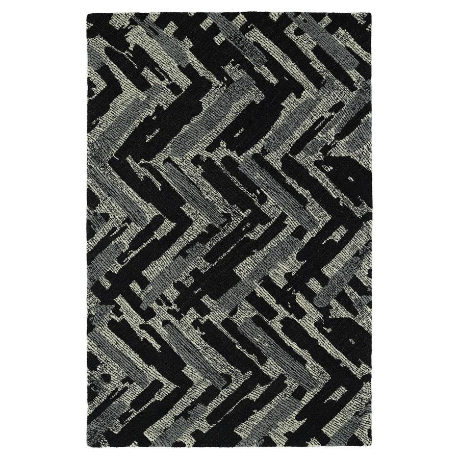Kaleen Montage Black Rectangular Indoor Handcrafted Distressed Area Rug (Common: 9 x 12; Actual: 9-ft W x 12-ft L)