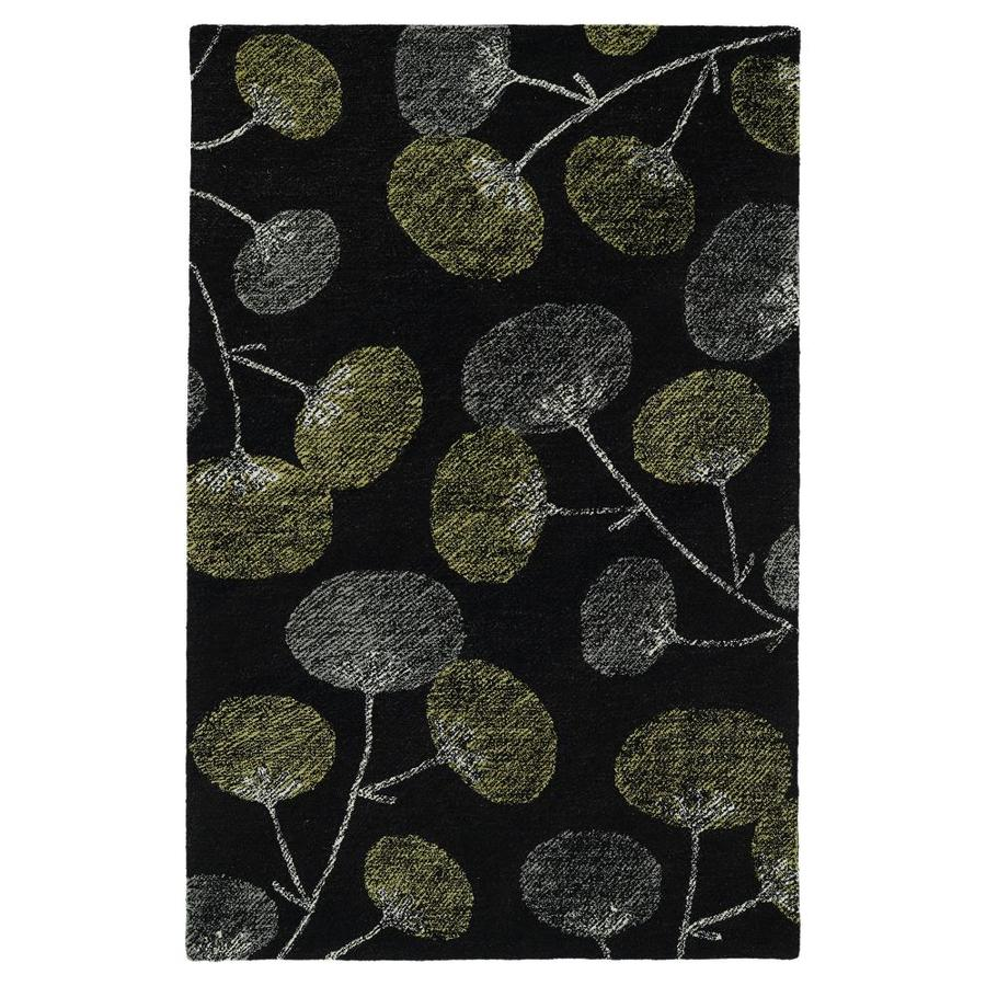 Kaleen Montage Black Indoor Handcrafted Distressed Area Rug (Common: 4 x 6; Actual: 3.5-ft W x 5.5-ft L)