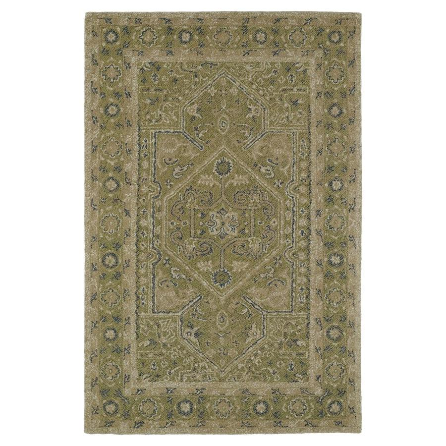 Kaleen Montage Green Rectangular Indoor Handcrafted Distressed Area Rug (Common: 9 x 12; Actual: 9-ft W x 12-ft L)
