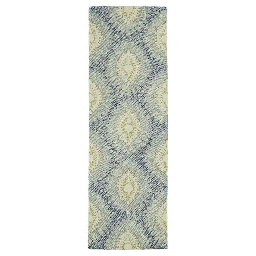 Kaleen Montage Blue Rectangular Indoor Handcrafted Distressed Runner (Common: 2 x 8; Actual: 2.5-ft W x 8-ft L)