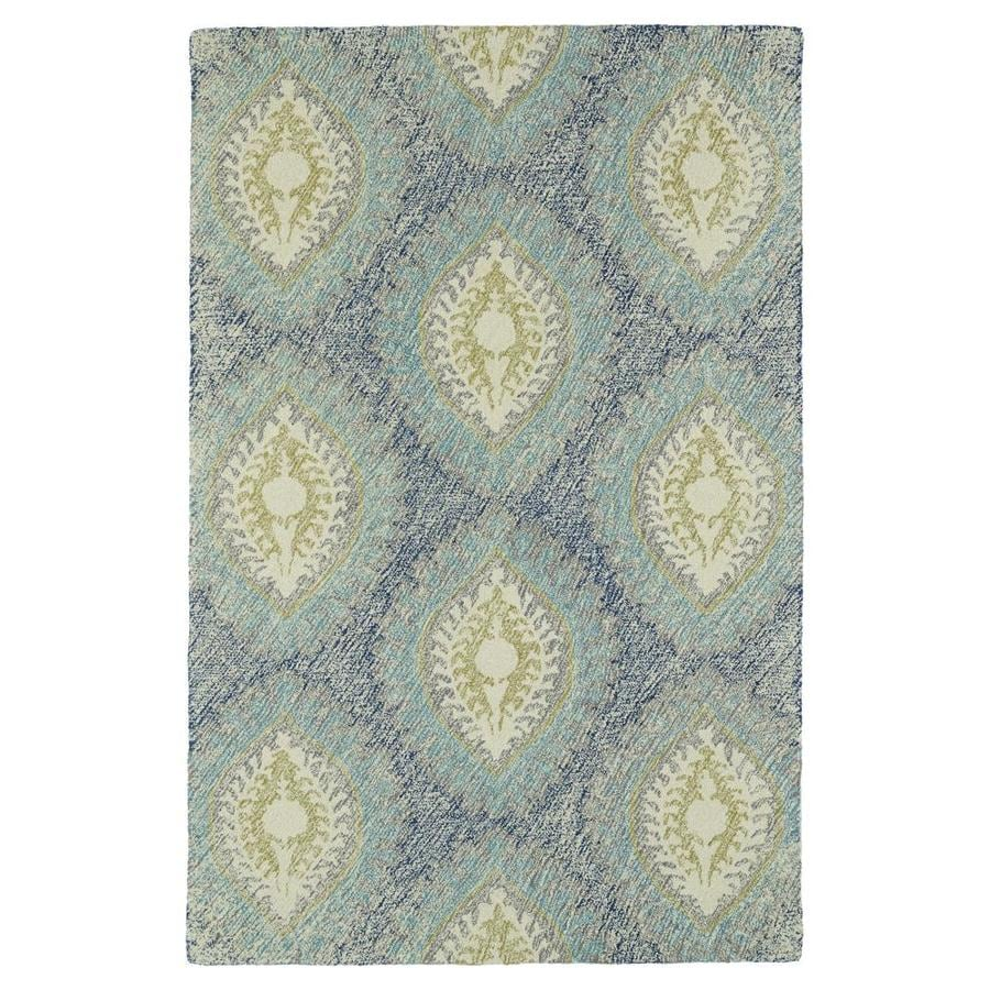 Kaleen Montage Blue Rectangular Indoor Handcrafted Distressed Area Rug (Common: 4 x 6; Actual: 3.5-ft W x 5.5-ft L)