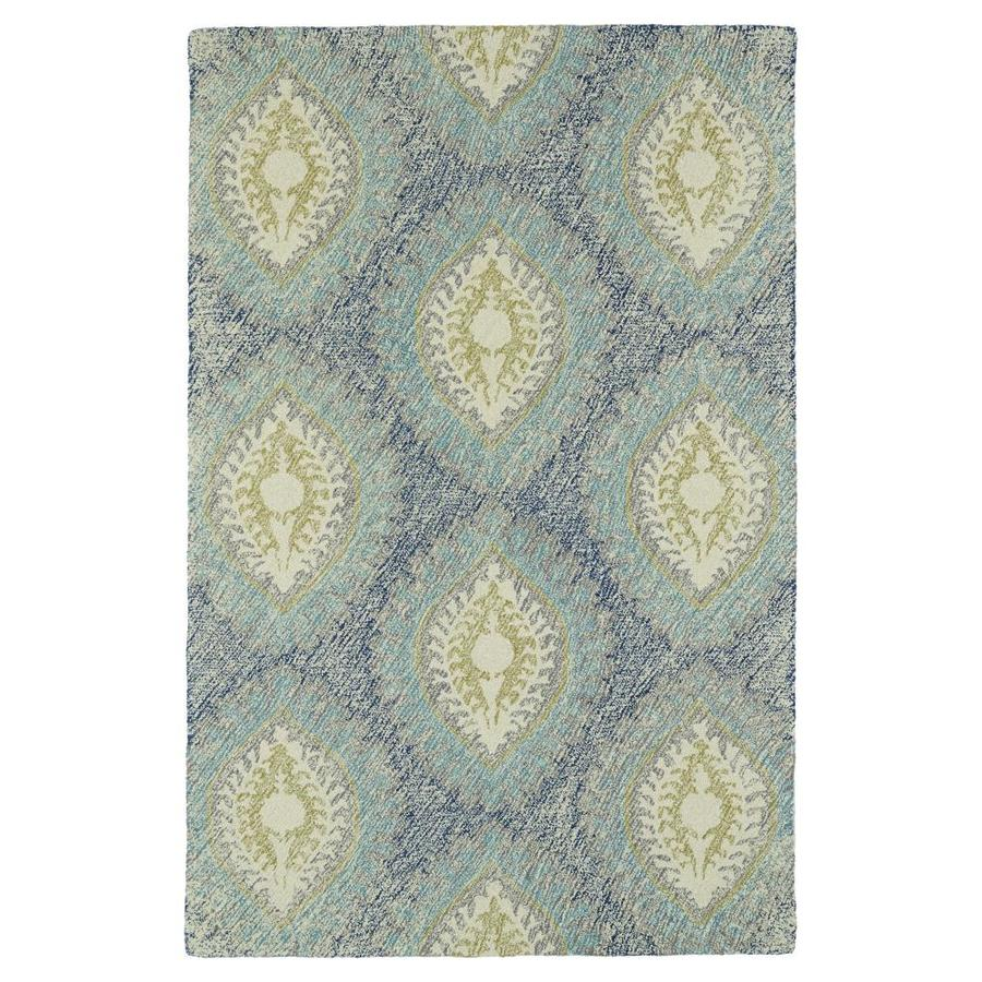 Kaleen Montage Blue Indoor Handcrafted Distressed Area Rug (Common: 8 x 10; Actual: 8-ft W x 10-ft L)