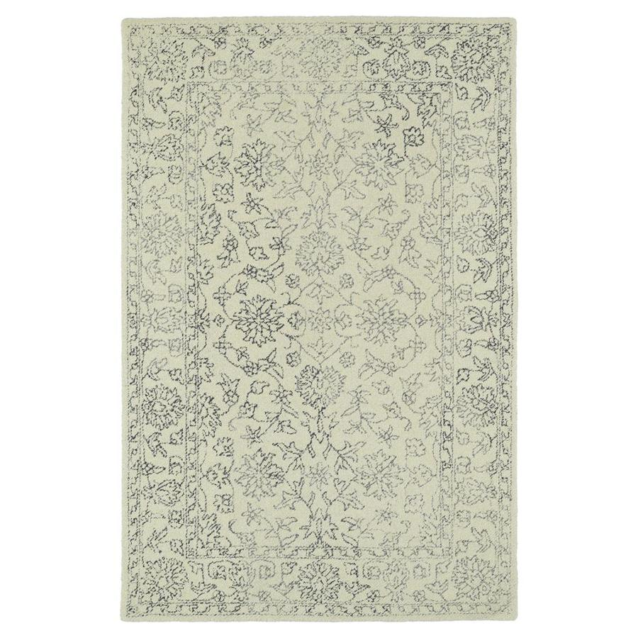 Kaleen Montage Ivory Indoor Handcrafted Distressed Area Rug (Common: 4 x 6; Actual: 3.5-ft W x 5.5-ft L)