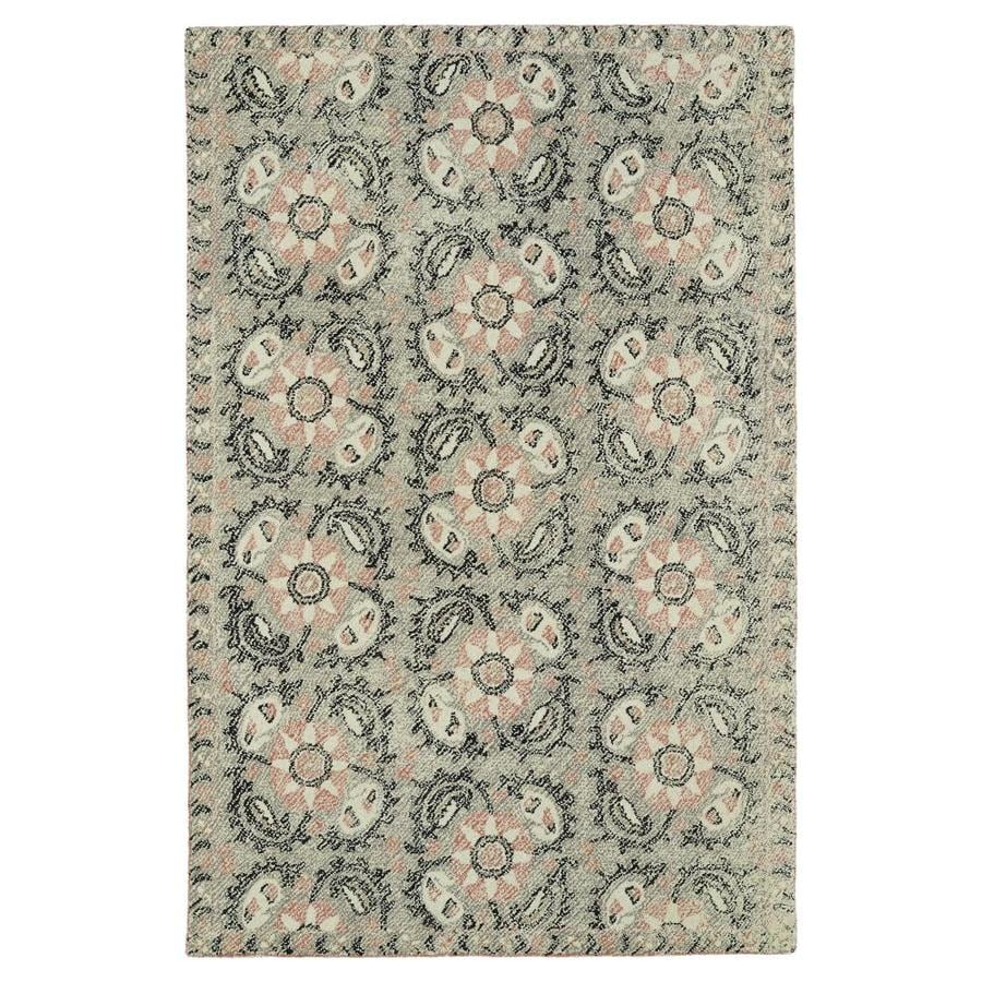 Kaleen Montage Grey Rectangular Indoor Handcrafted Distressed Area Rug (Common: 4 x 6; Actual: 3.5-ft W x 5.5-ft L)