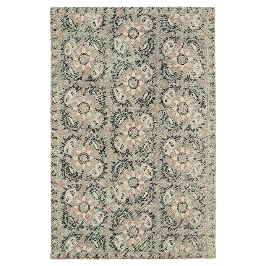 Kaleen Montage Grey Rectangular Indoor Handcrafted Distressed Area Rug (Common: 5 x 8; Actual: 5-ft W x 7.75-ft L)