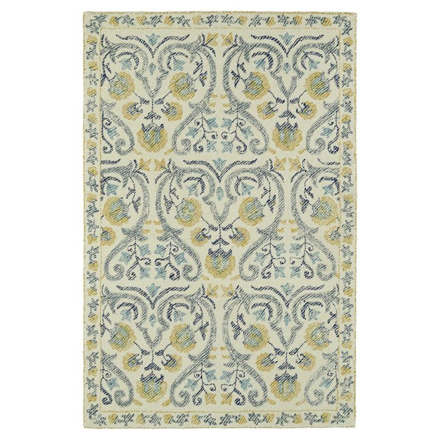 Kaleen Montage Ivory Indoor Handcrafted Distressed Area Rug (Common: 5 x 8; Actual: 5-ft W x 7.75-ft L)