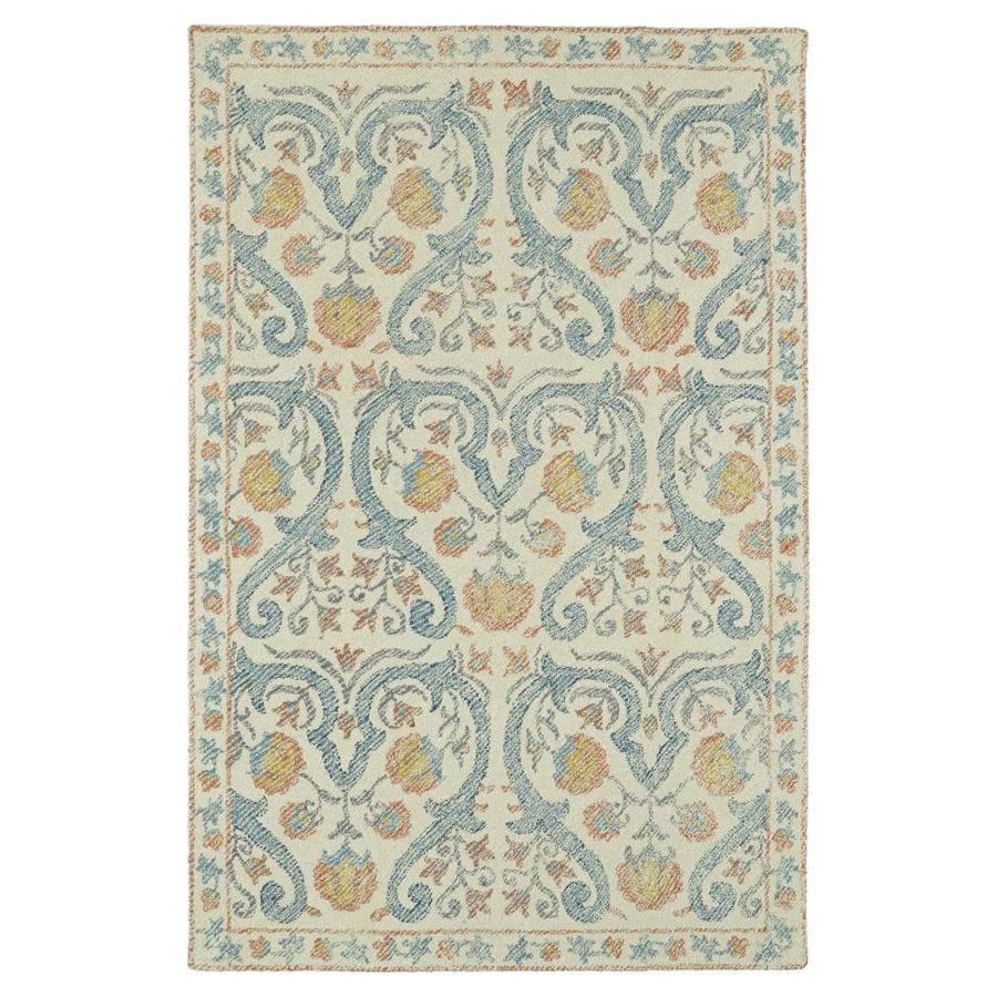 Kaleen Montage Teal Rectangular Indoor Handcrafted Distressed Throw Rug (Common: 2 x 3; Actual: 2-ft W x 3-ft L)