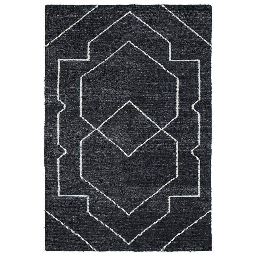 Kaleen Solitaire Charcoal Rectangular Indoor Handcrafted Lodge Area Rug (Common: 4 x 6; Actual: 4-ft W x 6-ft L)