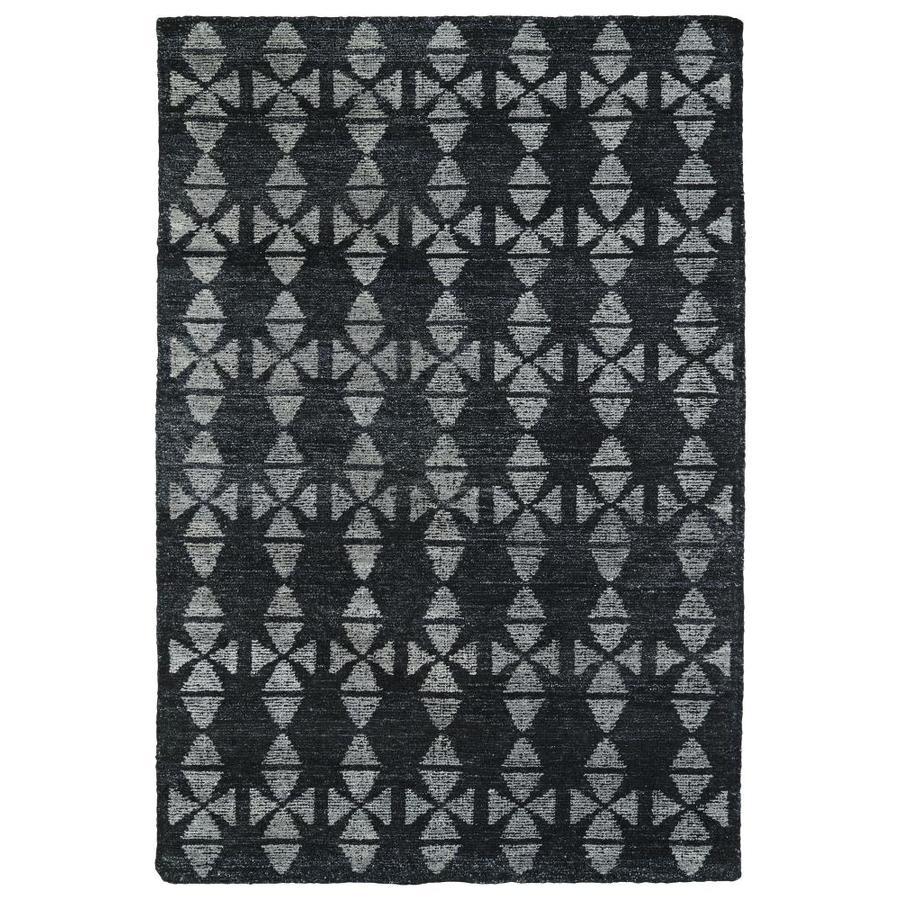 Kaleen Solitaire Charcoal Rectangular Indoor Handcrafted Lodge Area Rug (Common: 10 X 13; Actual: 9.5-ft W x 13-ft L)