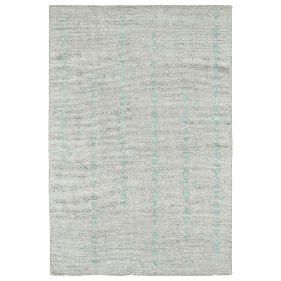 Kaleen Solitaire Silver Indoor Handcrafted Lodge Area Rug (Common: 4 x 6; Actual: 4-ft W x 6-ft L)