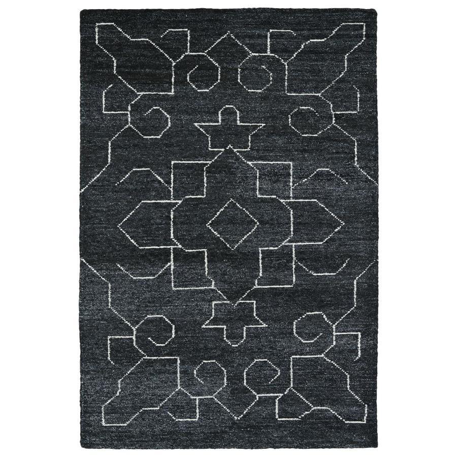 Kaleen Solitaire Charcoal Rectangular Indoor Handcrafted Lodge Area Rug (Common: 4 x 6; Actual: 4-ft W x 6-ft L)