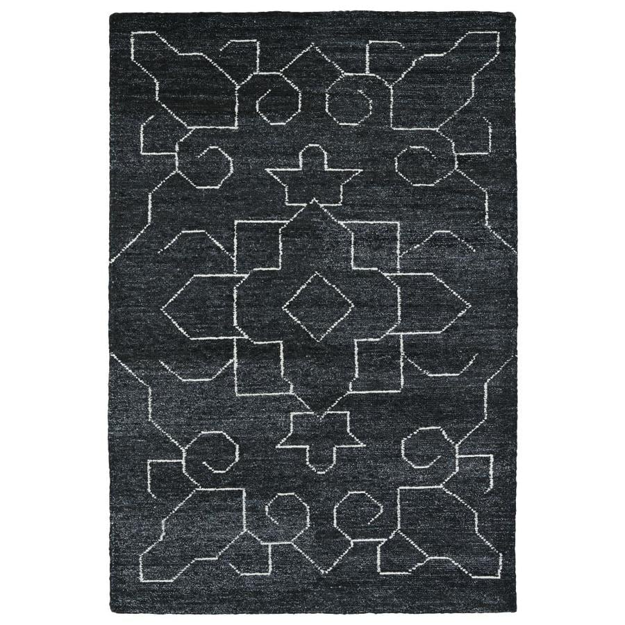 Kaleen Solitaire Charcoal Indoor Handcrafted Lodge Area Rug (Common: 5 x 8; Actual: 5-ft W x 7.75-ft L)