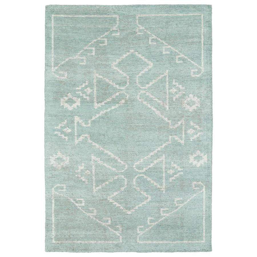 Kaleen Solitaire Mint Indoor Handcrafted Lodge Area Rug (Common: 4 x 6; Actual: 4-ft W x 6-ft L)