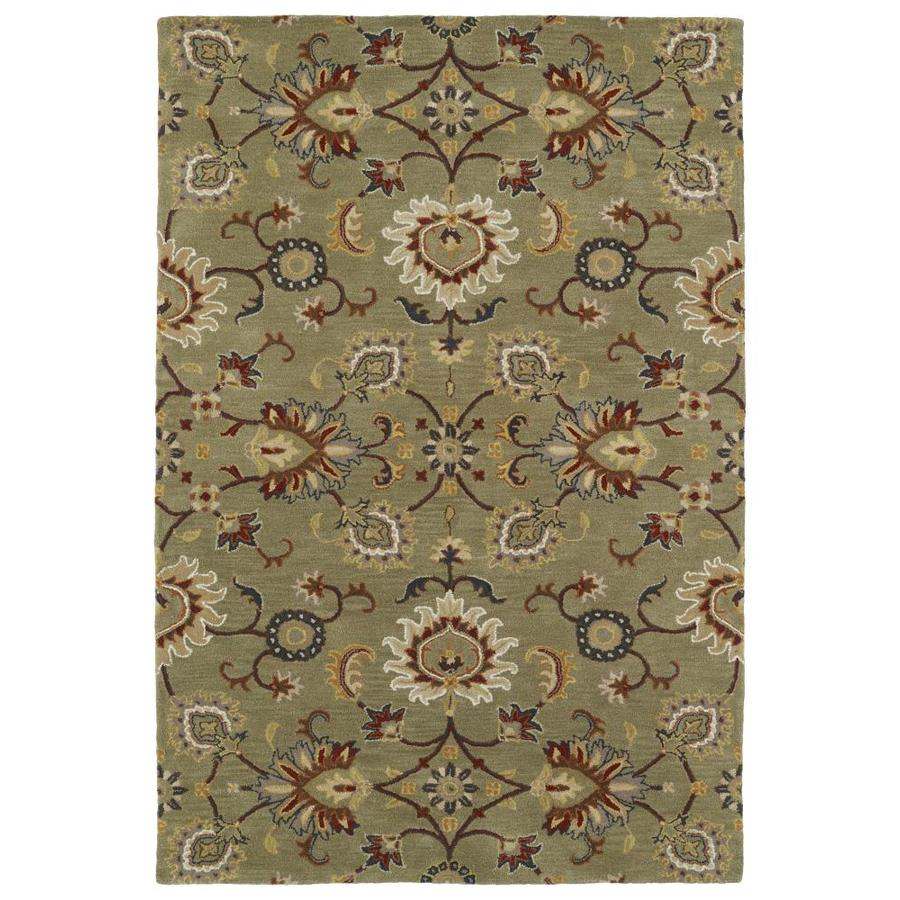 Kaleen Middleton Green Rectangular Indoor Handcrafted Oriental Area Rug (Common: 5 x 8; Actual: 5-ft W x 7.75-ft L)