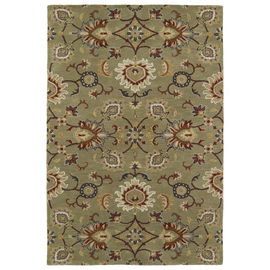 Kaleen Middleton Green Rectangular Indoor Handcrafted Oriental Area Rug (Common: 9 x 12; Actual: 9-ft W x 12-ft L)