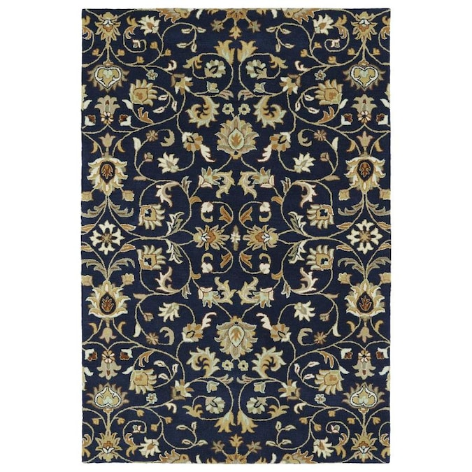 Kaleen Middleton 5 X 8 Navy Indoor Floral Botanical Oriental Handcrafted Area Rug In The Rugs Department At Lowes Com