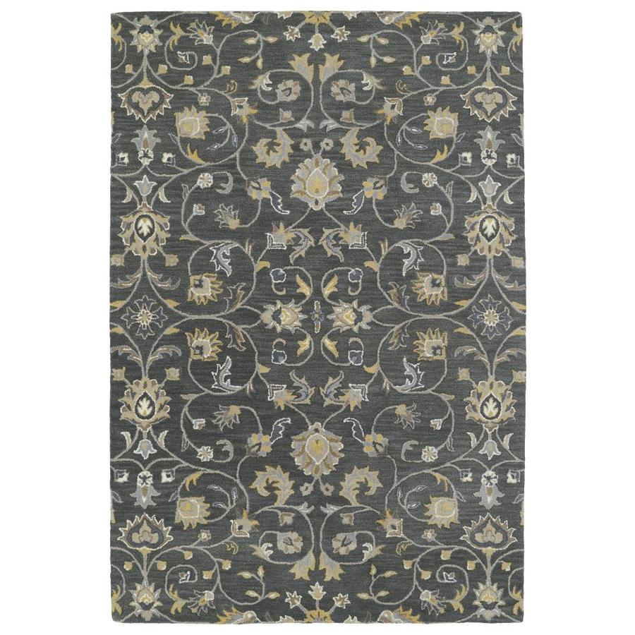 Kaleen Middleton Graphite Rectangular Indoor Handcrafted Oriental Throw Rug (Common: 3 x 5; Actual: 3-ft W x 5-ft L)