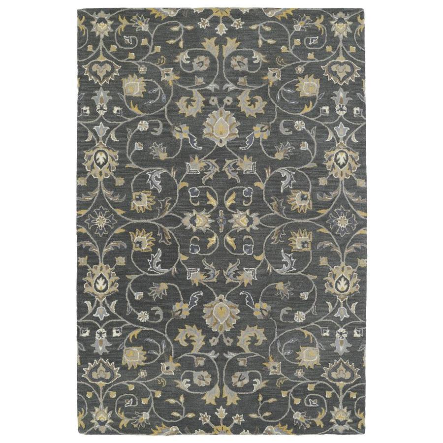 Kaleen Middleton Graphite Rectangular Indoor Handcrafted Oriental Area Rug (Common: 5 x 8; Actual: 5-ft W x 7.75-ft L)