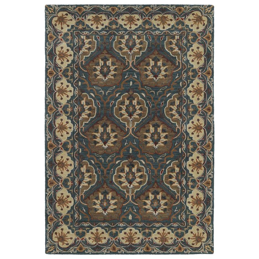 Kaleen Middleton Teal Rectangular Indoor Handcrafted Oriental Area Rug (Common: 8 x 10; Actual: 8-ft W x 10-ft L)