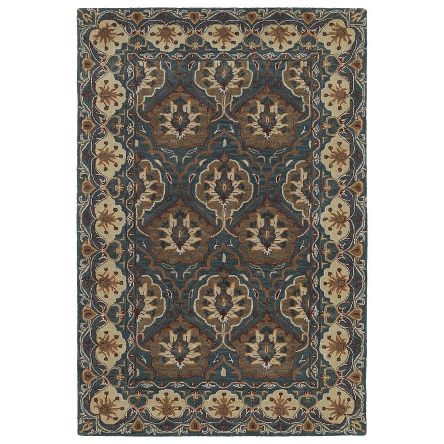 Kaleen Middleton Teal Rectangular Indoor Handcrafted Oriental Area Rug (Common: 9 x 12; Actual: 9-ft W x 12-ft L)