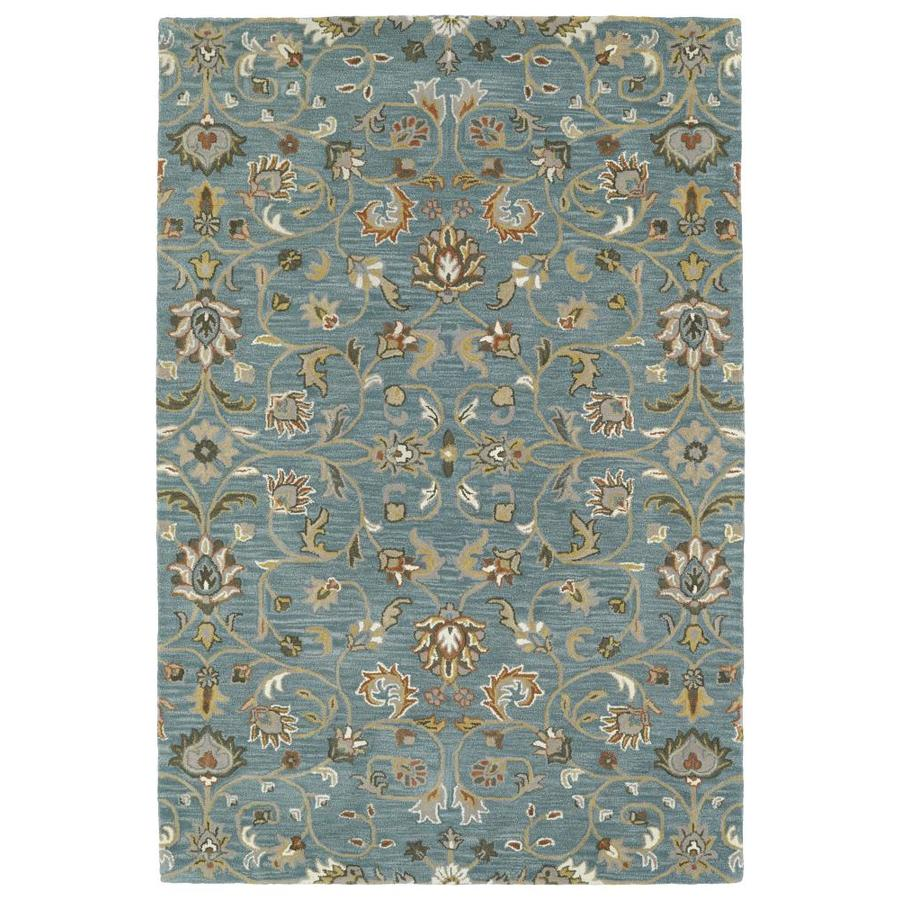 Kaleen Middleton Turquoise Indoor Handcrafted Oriental Area Rug (Common: 5 x 8; Actual: 5-ft W x 7.75-ft L)