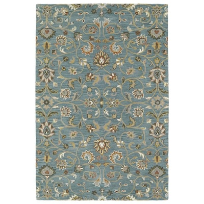 Kaleen Middleton 5 X 8 Turquoise Indoor Floral Botanical Oriental Handcrafted Area Rug In The Rugs Department At Lowes Com