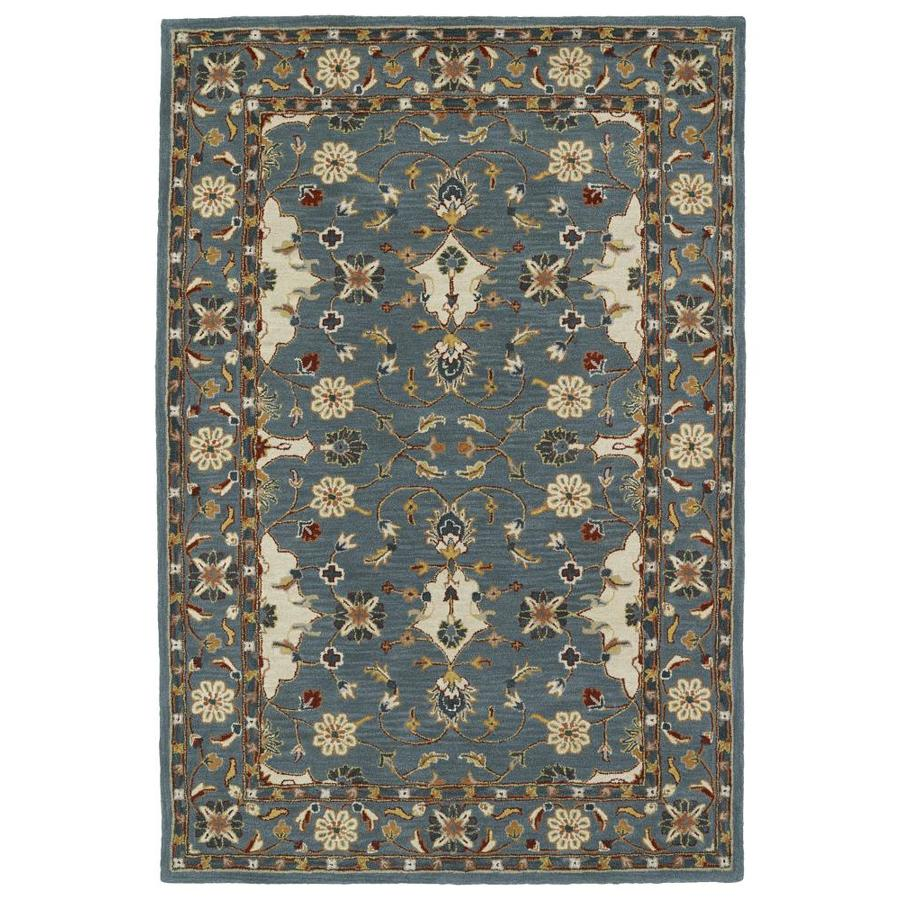 Kaleen Middleton Teal Rectangular Indoor Handcrafted Oriental Throw Rug (Common: 3 x 5; Actual: 3-ft W x 5-ft L)