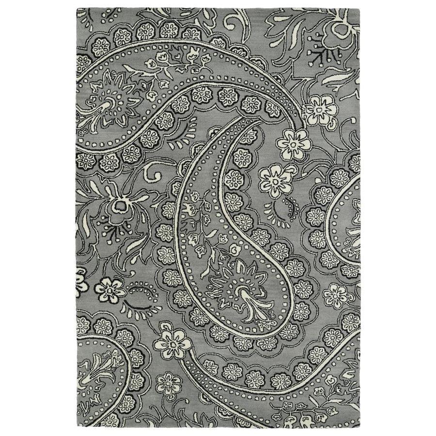 Kaleen Melange Grey Rectangular Indoor Handcrafted Oriental Area Rug (Common: 5 x 8; Actual: 5-ft W x 7.75-ft L)