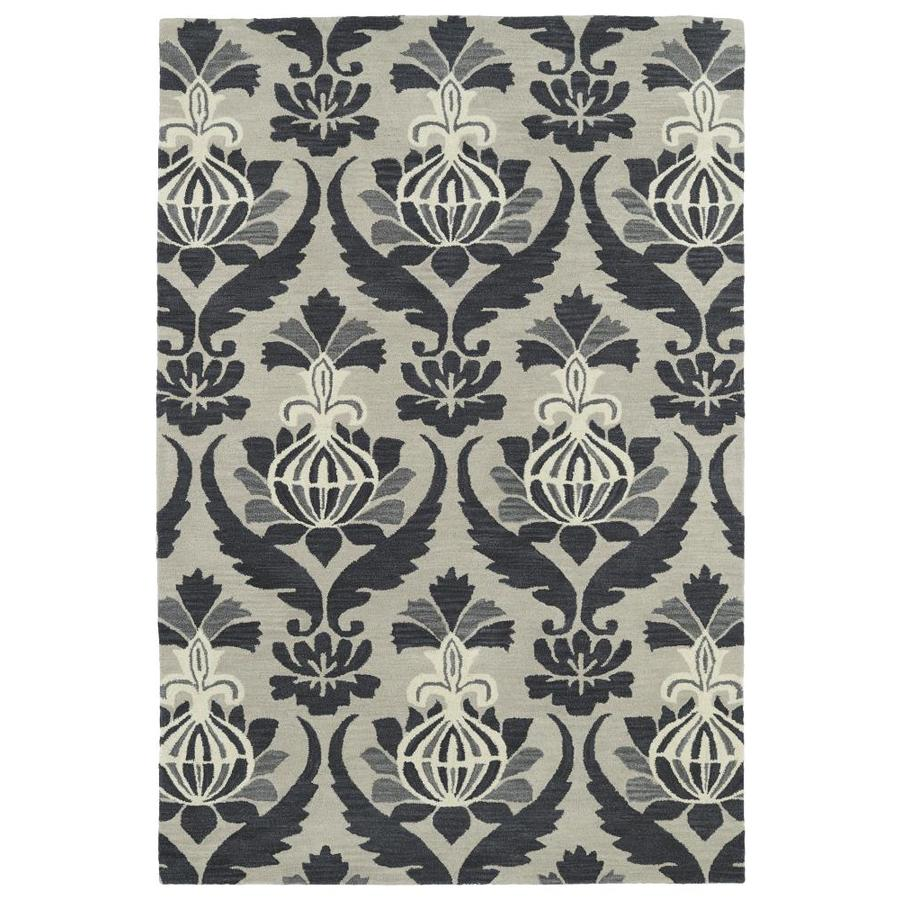 Kaleen Melange Grey Rectangular Indoor Handcrafted Oriental Area Rug (Common: 9 x 12; Actual: 9-ft W x 12-ft L)