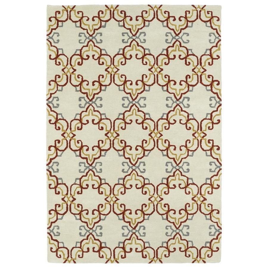 Kaleen Melange Ivory Rectangular Indoor Handcrafted Oriental Throw Rug (Common: 3 x 5; Actual: 3-ft W x 5-ft L)